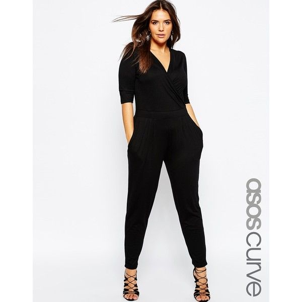 ASOS CURVE Wrap Jumpsuit with 3/4 Sleeve ($45) ❤ liked on Polyvore featuring jumpsuits, black, plus size, v neck jumpsuit, v-neck jersey, plus size v neck jumpsuit, 3/4 sleeve jersey and v neck jersey