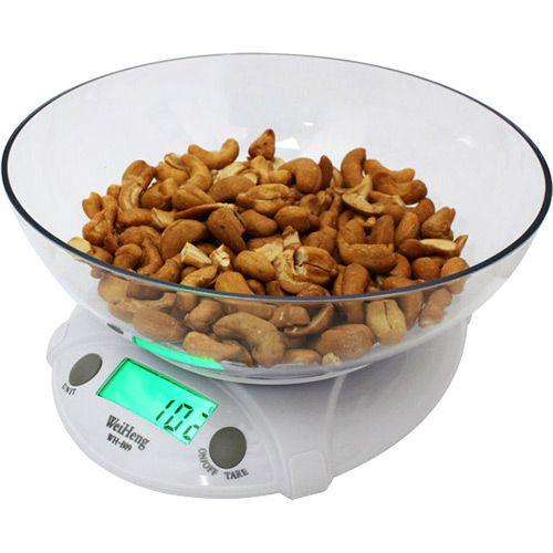 Balança Digital de Cozinha WH-B09 7 kgs com Bacia para Alimentos