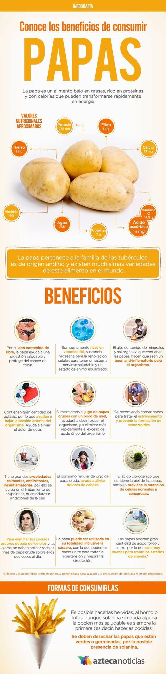 Conoce los beneficios de consumir papas #infografia: