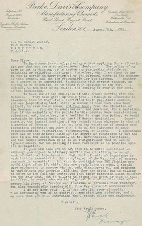 A letter written to T H Visick from a potential employer rejecting his job application because of his pacifist stand. Documents 4641