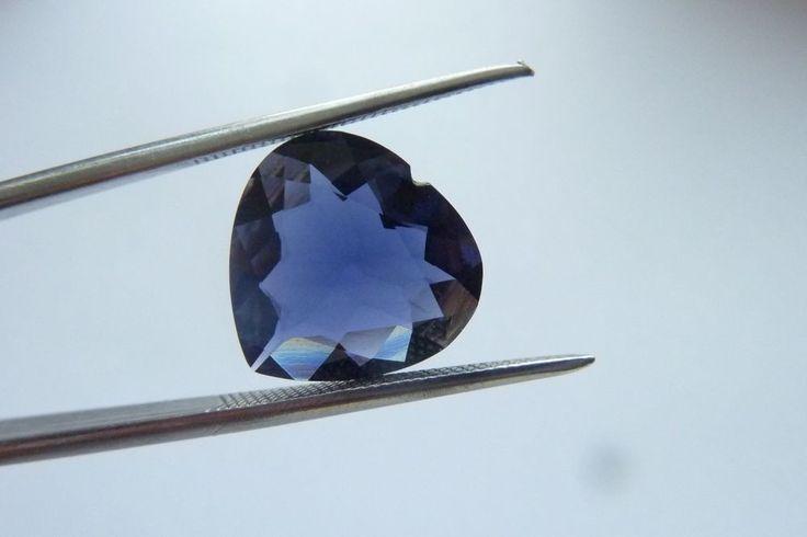 3.57 Cts Heart Shape Blue Color 100% Natural Iolite Loose Gemstone ~ 12*12 MM #KinuBabaGems