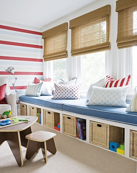For a kid who loves to read, a window seat provides storage AND a cozy, sunny nook to curl up in.: