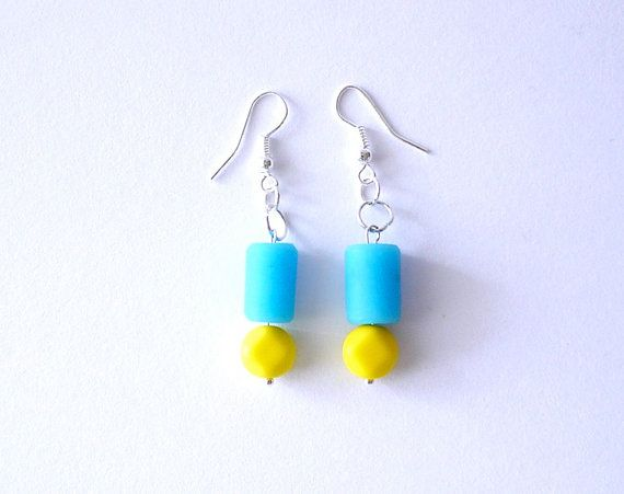 Colour pops of Blue and yellow resin and glass bead drop earrings by gtgadabout