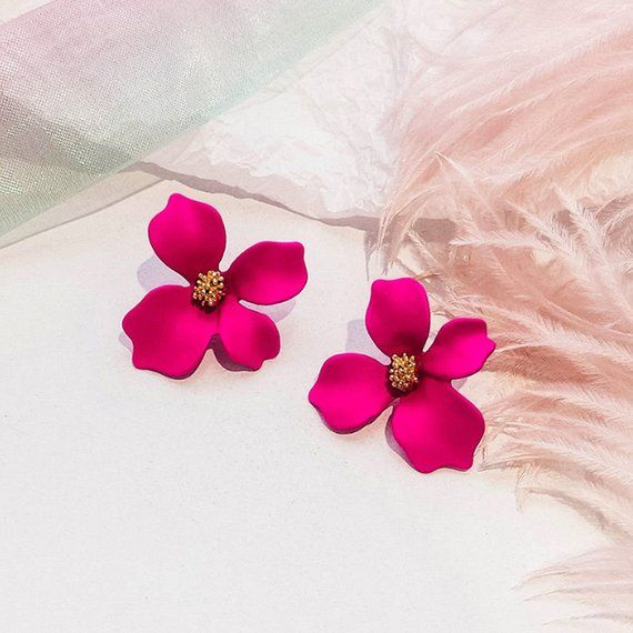 Kiera Dazzling Pink Orchid Flower Drop Earrings Studs Spring Poppig Pink Orchids Floral Earrings Earrings Earrings Earrings Earrings Stud Stud Spring Sprin