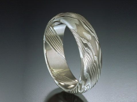 Palladium Wedding Band: Etched mokume wedding band that is 6mm wide in palladium 950 and sterling silver in tight wood grain pattern. By James Binnion Metal Arts / Mokume-Gane #jewelry