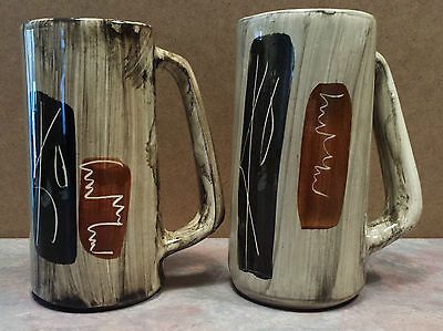 Laurentian-Art-Ware-Hand-Crafted-Pottery-Set-of-2-Mug-Beer-Stein-Quebec-Canada