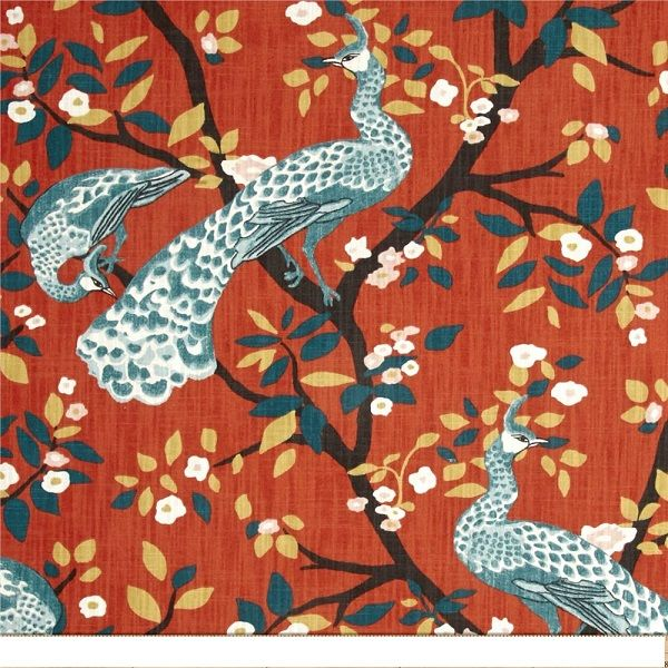 This is a red/orange,blue and gold floral peacock design cotton drapery fabric by Robert Allen, suitable for any dcor. Perfect for pillows, drapes and bedding.v149EEF