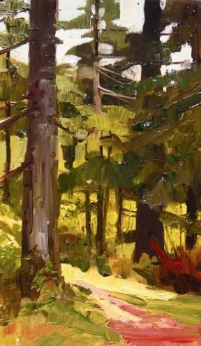 Forest Trees Dosewallips State Park paint out , plein air , landscape painting by Robin Weiss, painting by artist Robin Weiss