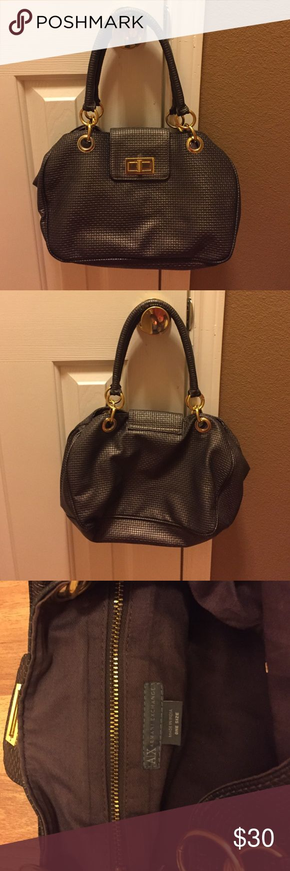 Armani Exchange Purse Pewter color with gold hardware. Bought on Posh but the purse is too small for me! Lol... I like BIG bags !!!! Armani Exchange Bags Satchels