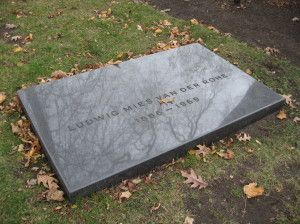 Headstone of the pioneering masters of modern architecture, Mies van der Rohe, designed by his grandson, architect Dirk Lohan.