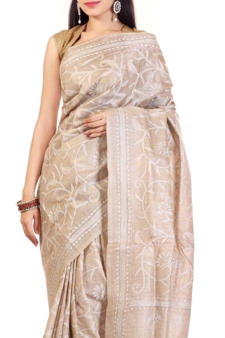 Beige & White Thread Kantha Tussar Silk Saree