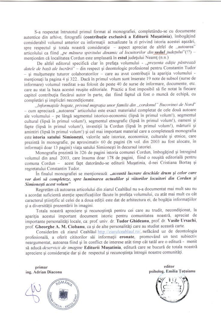 """În articolul Apariţie editorială: ,,Monografia comunei Cordun"""" din Ceahlăul (28-10-2014) http://ziarulceahlaul.ro/aparitie-editoriala-monografia-comunei-cordun/ sunt aduse acuze nefondate Editurii Muşatinia din Roman, astfel vă informăm: – Constantin Tudor nu a fost profesor! A lucrat la Primăria Cordun ca funcţionar şi la Petrotub SA … Continue reading →"""