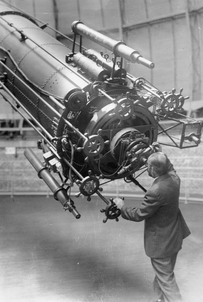George A. Van Biesbroeck (1880-1974), astronomer at Yerkes Observatory observing Mars when it approached close to the earth in 1926, and using the 40 inch refracting telescope, the largest of its kind in the world.
