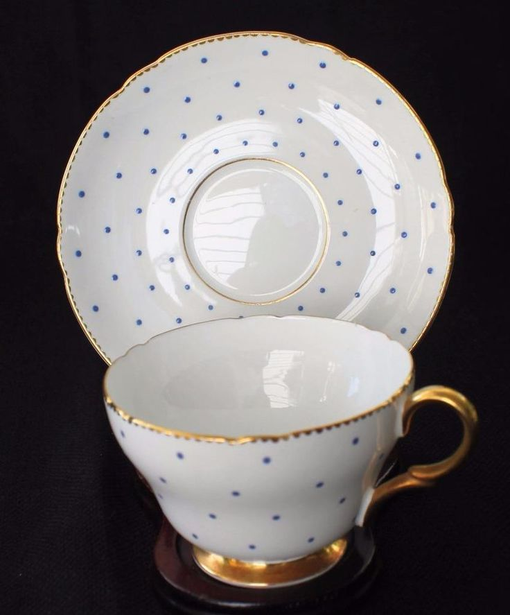 Vintage SHELLEY Bone China England Cobalt Blue POLKA DOTS #13497/B Cup \u0026 Saucer & 108 best Eclectic Dinnerware images on Pinterest | Crystals Vintage ...