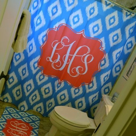 Monogram Shower Curtain - How much do I love this?  And matching floor mat?  Oh my!