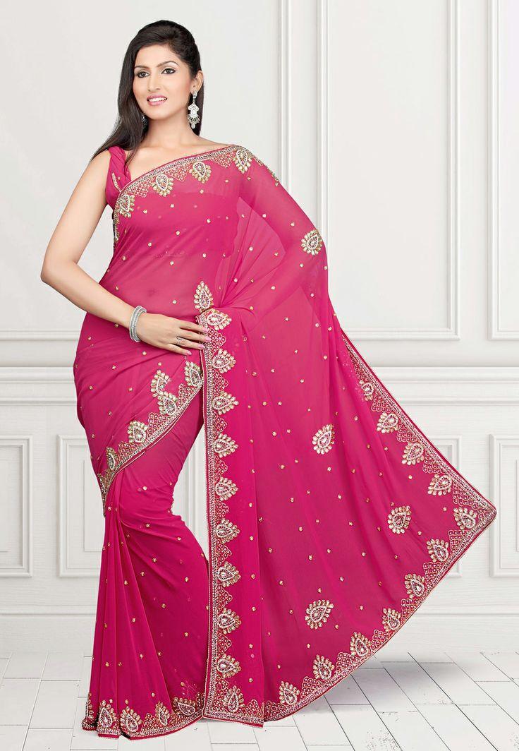 Dark Pink Faux Chiffon Saree with Blouse @ $96.59