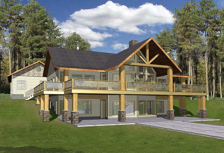 Mountain Home with Wrap-Around Deck - 35427GH | Mountain, Northwest, Vacation, Metric, 1st Floor Master Suite, CAD Available, Den-Office-Library-Study, Media-Game-Home Theater, PDF, Wrap Around Porch, Corner Lot, Sloping Lot | Architectural Designs