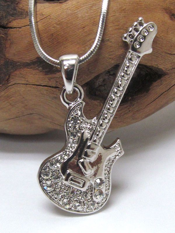 Guitar Jazz Blues flat White Gold Plated Crystal Accent Music Pendant Necklace
