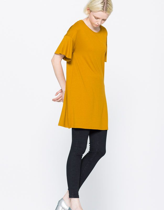 CREPE DRESS WITH FRILLED SLEEVES - DRESSES - WOMAN - PULL&BEAR United…