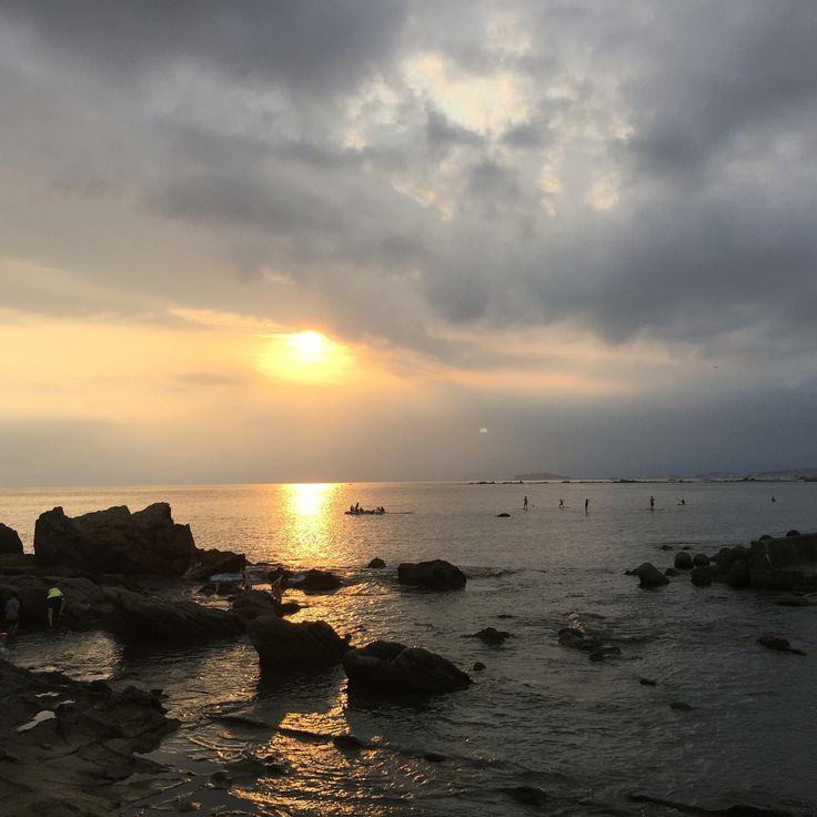 Isshiki Beach in Kanagawa, Japan. Beautiful sunset.