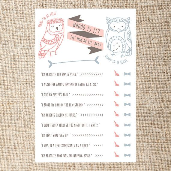 baby shower game printable whoo is it he said she said digital file