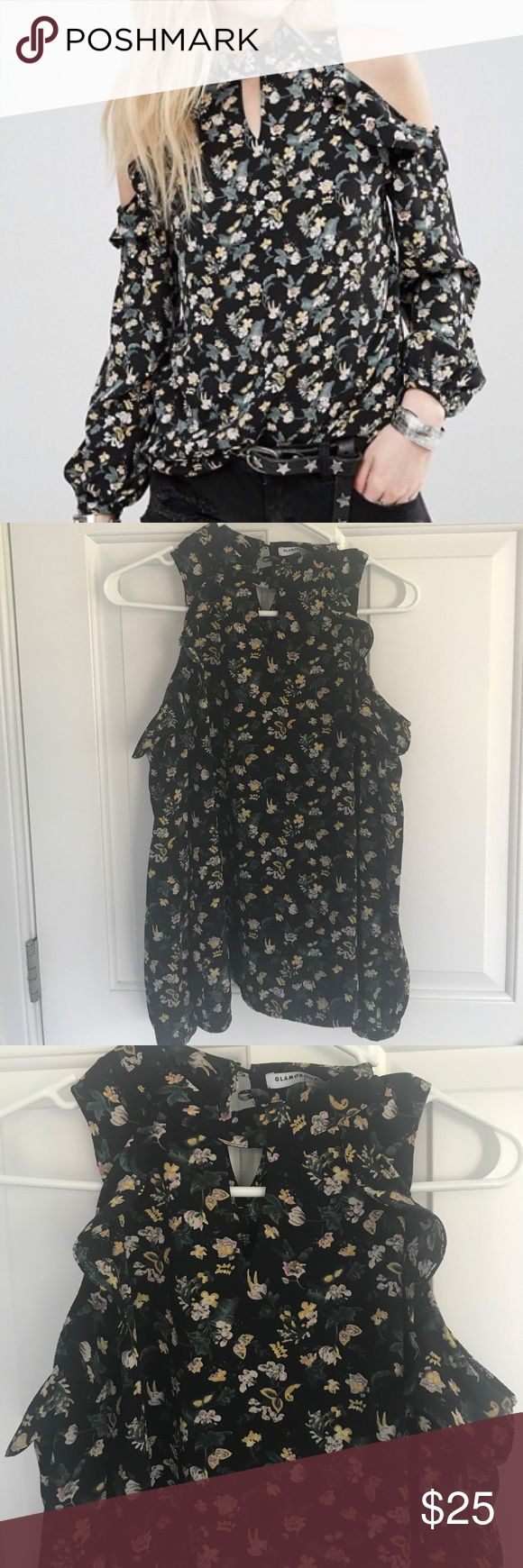 """ASOS Floral Cold Shoulder Blouse This Blouse is adorable! Only worn a couple of times.  The model pictured is 125 lbs and 5' 4"""" Glamorous Tops Blouses"""