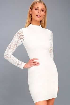 52cf2b8abb7a3d Hidden Talent Backless Ivory Lace Dress in 2019 | Harley | Bodycon ...