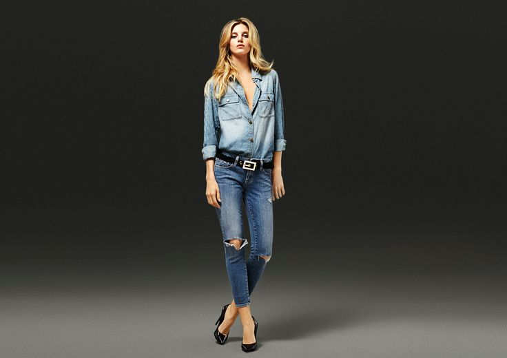D-ID Jeans - %u200BAMAZONE SHIRT - LIGHT BLUE NEEDLEMANIAJEANS: ANKLE SKINNY - ELLE DESTROY