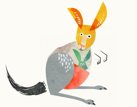 Stunned kangaroo illustration for wine labels - Leanne Bock. Australian / art / design.