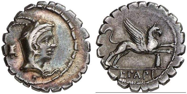 AR Denarius serratus. Roman Coin, Roman Republic, Moneyers, L.Papius. 79 BC. 4,00g. Syd. 773. VF. Price realized 2011. 400 USD.