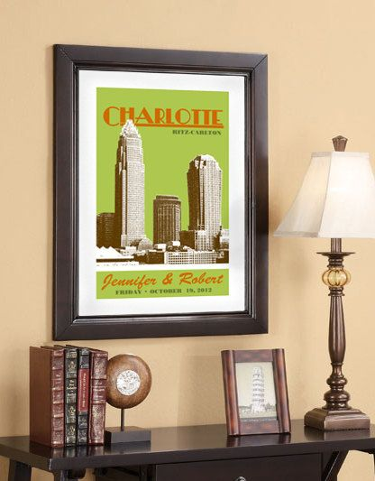 custom city skyline wedding posters including city, location, names and wedding day [by DBArtist on Etsy] $65Wedding Posters, 20X30 Posters, Charlotte Skyline, 16X24 San, Cities Skyline, Bi Dbartist, Posters 16X24, 16X24 Charlotte, 70 00