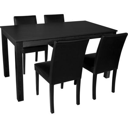 Elmdon Black 120cm Dining Table And 4 Black Chairs At