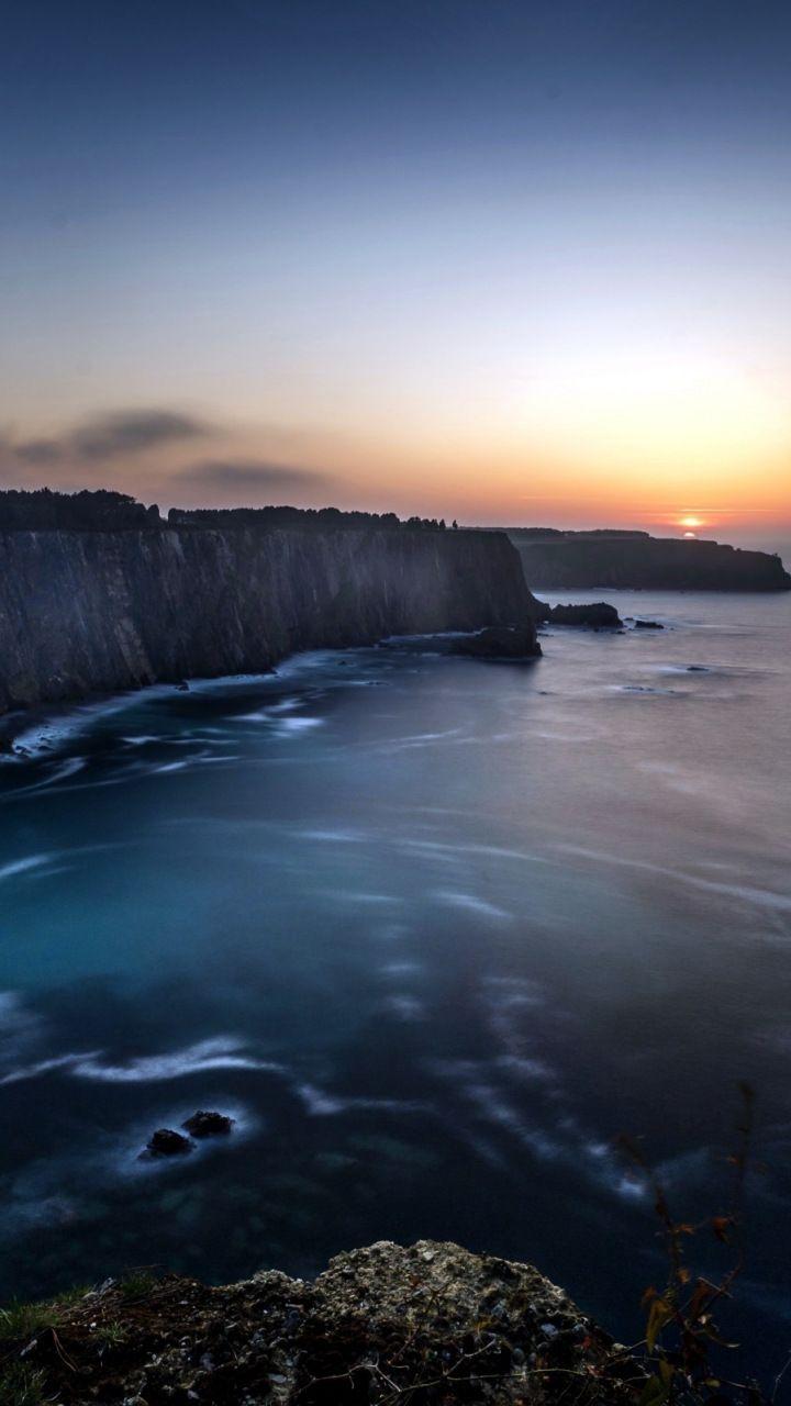 Coast Cliff Blue Ocean Nature Sea Sunset 720x1280 Wallpaper Landscape Photography Nature Desktop Background Nature Nature