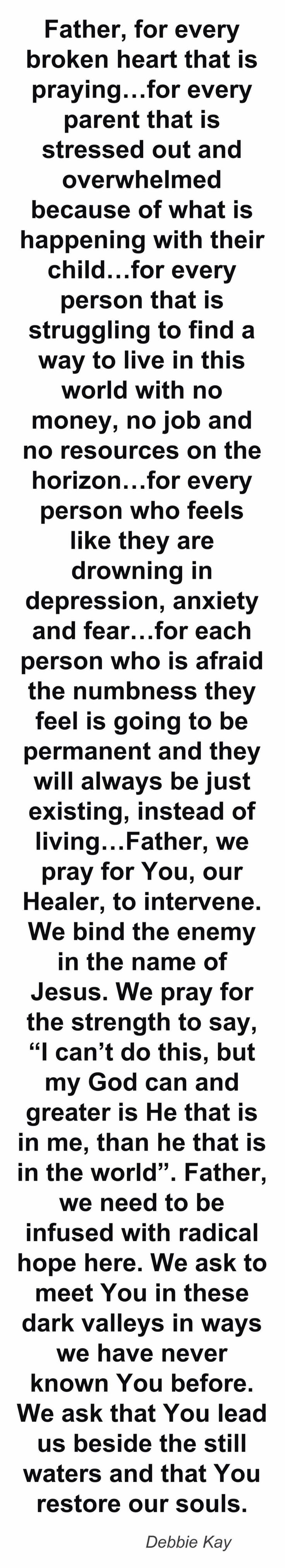 ❤In Jesus name: Amen.....What a beautiful prayer. Another one to add to my daily list of prayer. HF~