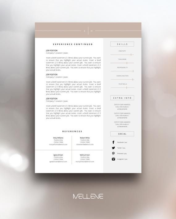 Resume Template 3 Page Cv Template Cover Letter Instant Etsy