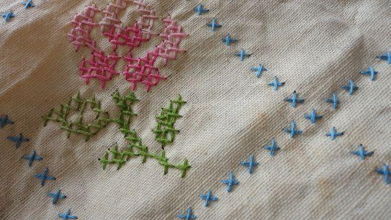 Vintage hand embroidered linen table runner unfinished