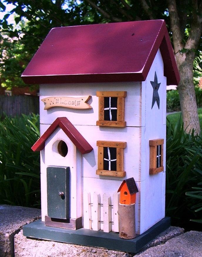 Treasured Shabby chic Salt Box Birdhouse 472