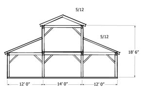 Monitor Style Barn Kit - Horse Barn Plans - Barn Building Kits - Timber Frame Plans