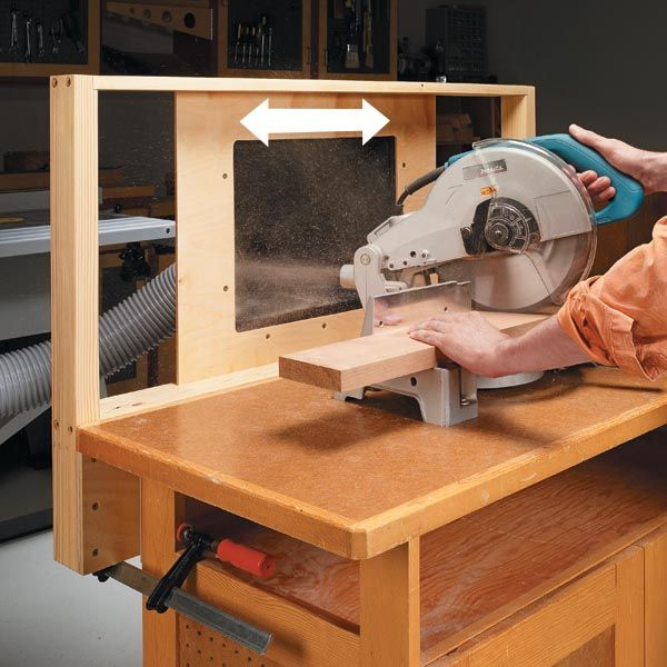 Make sure your miter saw dust collection works from every angle! This sliding mechanism catches sawdust even on mitered and beveled cuts.