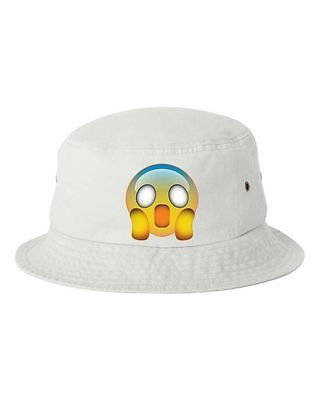 Scared Emoji Bucket Cap Hat