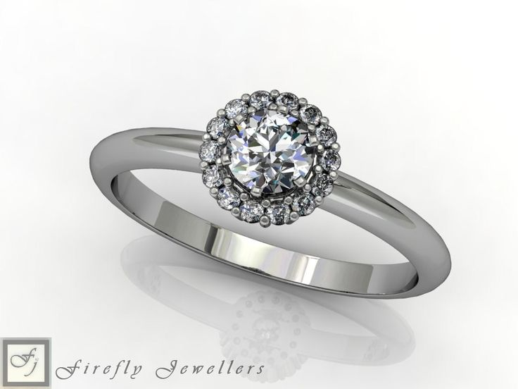 Halo engagement ring made of white gold and diamonds. (Source: www.fireflyjewel.co.za)