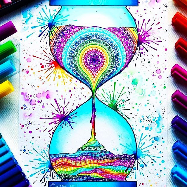 Ok so here's another not officially planner related, but come on! How can @sine_art be so talented? I would soooooo but a coloring book of her creation.  Beautiful!! #Repost @sine_art ・・・ Rainbow Mandala Hourglass ❤️:sparkling_