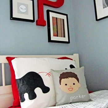 love the personalized pillows from sarah + abraham: Kids Pillows, Kids Stuff, Kid Pillows, Boys Bedrooms, Custom Kid, Boys Rooms, Kid Crafts, Boy Room, Kids Rooms