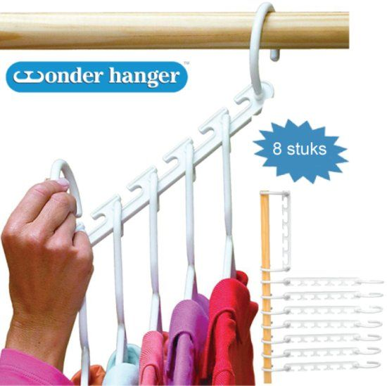 8 Wonderhangers voor ruim 40 items - Meer ruimte in je kast - Wonder hangers