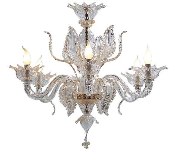 #Lampadario #classico #vetro Lampadario classico in vetro trasparente e oro calici H. 75 cm – ø. 85 cm Dimensioni e colori disponibili su richiesta