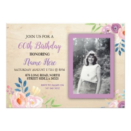 Birthday Purple Flower Photo Invitation Pretty - birthday gifts party celebration custom gift ideas diy