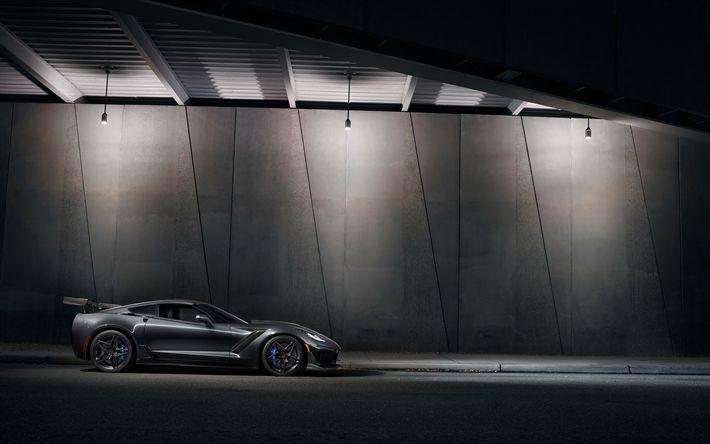 Download wallpapers Chevrolet Corvette ZR1, 4k, hypercars, 2019 cars, supercars, new Corvette, Chevrolet