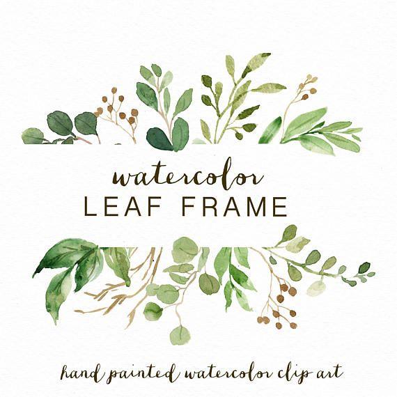 Watercolor Leaf frame/leaves/wedding invitation/clipart/