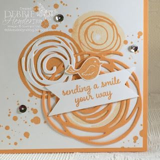 Create with Connie & Mary Saturday Blog Hop featuring Peekaboo Peach. I used Stampin' Up! Swirly Bird and Swirly Scribbles Thinlits Dies! Debbie Henderson, Debbie's Designs.