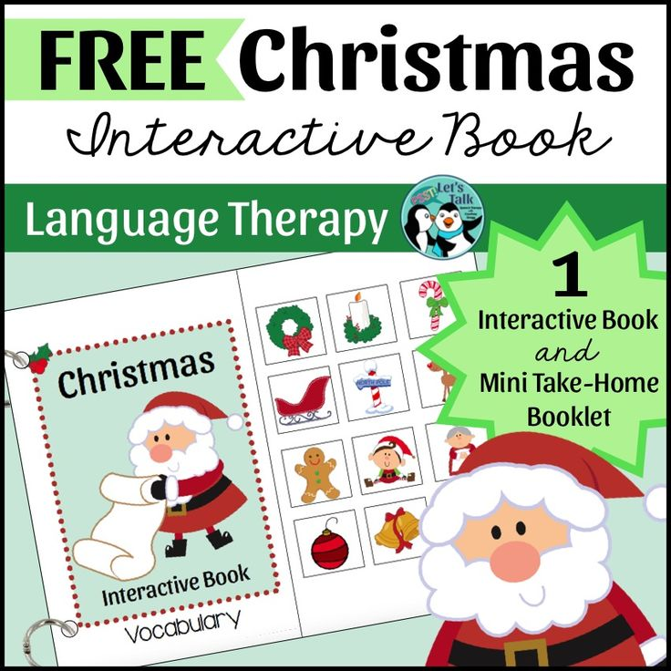 FREE Interactive Vocabulary book for Christmas! This free language therapy resource includes a printable take-home mini book.